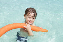 Child in Tropical Ocean, Pool Royalty Free Stock Image