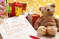 Child true wish on Christmas. Written on the letter to Santa Stock Photography