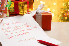 Child true wish on Christmas Royalty Free Stock Photos