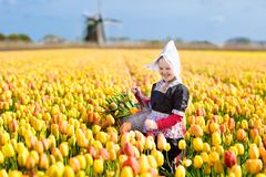 Child in tulip flower field. Windmill in Holland. Child in tulip flower field with windmill in Holland. Little Dutch girl in traditional national costume, dress royalty free stock images
