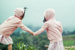 Child two cute little girls holding hand each other Stock Images