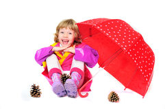 Child with umbrella Stock Photo