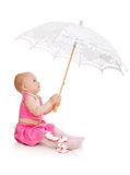 Child with umbrella royalty free stock photography