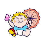 Child with umbrella Stock Image