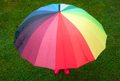 Child with umbrella outdoors Royalty Free Stock Photography