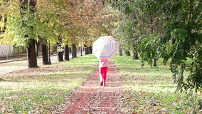 Child with umbrella walking in park stock video