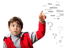 Child uncertain. About his future, work, study Stock Images