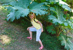 Child under the big leaf Stock Photography
