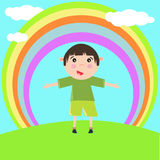 Child under rainbow Stock Images