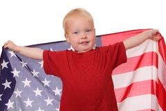 Child with USA flag Royalty Free Stock Image