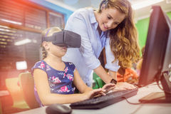 Child using 3D glasses Royalty Free Stock Photo