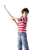 Child using golf club standing on white Royalty Free Stock Photos