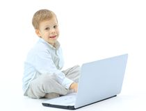 Child using laptop Royalty Free Stock Photography