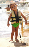 Child using lifeguard. In the beach stock photography