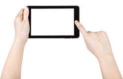 Child using tablet pc with cut out screen Royalty Free Stock Photo