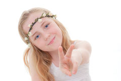 Child v sign Stock Photos