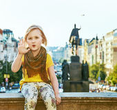 Child on Vaclavske namesti in Prague Czech Republic handwaving Royalty Free Stock Photography