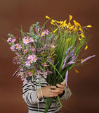 Child with Valentine's Day Flowers Royalty Free Stock Image