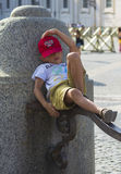 Child in relax in vatican city stock photo