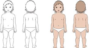 Child. Vector illustration of child's figure. Front and back views Royalty Free Stock Photography