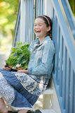 Child with Vegetables Stock Images