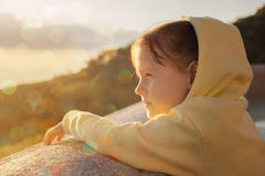 Child at viewpoint in mountains Royalty Free Stock Photo