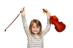 Child with violin Stock Photo