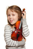 Child with violin royalty free stock photography
