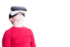 Child with virtual reality headset looking up stock images