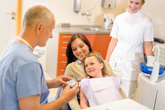 Child visit dentist surgery with mother Stock Photos