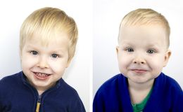 Portrait of a boy before and after the haircut. Child after visiting the hairdresser stock photos