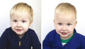Portrait of a boy before and after the haircut. Child after visiting the hairdresser stock image