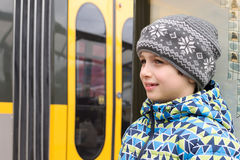 Child waiting for a train or tram Royalty Free Stock Photo