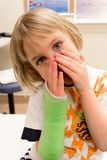 Child Waits to Have Cast Removed Royalty Free Stock Images