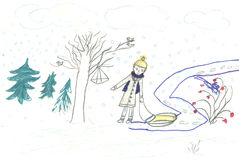 Child walk with sledge, drawing. Child walk with sledge in forest, kids pencil drawing Royalty Free Stock Photo