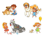 Child walking with dog. Boy and dog eating one ice-cream. Little girl walking with big St. Bernard. Beautiful girl is combing her dog with brush. Child walking Royalty Free Stock Image