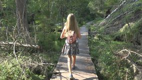 Child Walking in Forest, Kid Outdoor Nature, Girl Playing in Camping Adventure stock image