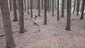 Child Walking in Forest, Kid Outdoor Nature, Girl Playing in Camping Adventure stock images