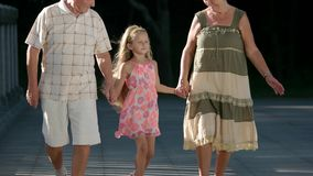 Child walking with her grandparents. Cute granddaughter holding hands with her grandparents on bridge. Happy family relationship stock video footage