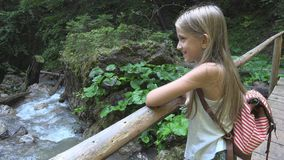 Child Walking Mountain Trail in Camping, Kid Hiking, Girl in Forest Adventure stock image