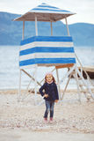Child walking near the sea Royalty Free Stock Image