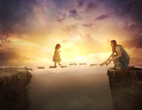 Free Child Walking On Pages Over Cliff Stock Photo - 92711700