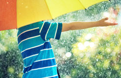 Child walking on rainy weather. Child on rainy weather. Boy holding colourful umbrella under rain in summer royalty free stock photo
