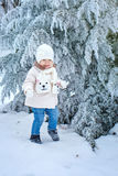 Child walking in winter forest Stock Photos