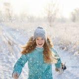 Child walking at winter park stock photo