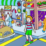 Child walks across the street. The light turns green and a child begins his walk across a busy street intersection. Many people are walking into a subway station royalty free illustration