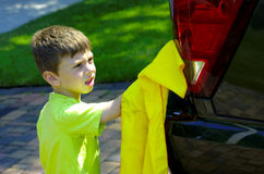 Child Washing Car stock photography