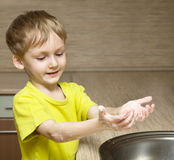 Child washing hands Royalty Free Stock Images