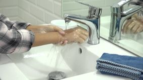 Child Washing Hands in Bathroom, Girl Using Soap and Water, Kids Health Car