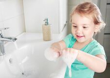Child Washing Hands With Soap,kid`s Hygiene Concept Stock Photos